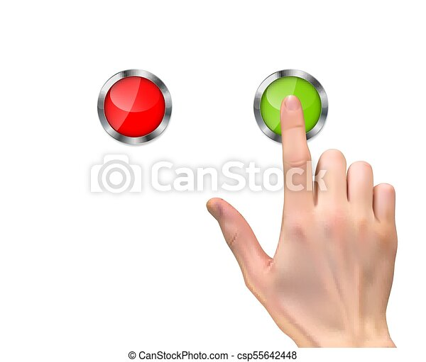 Realistic 3D Silhouette of hand with inger pressing a green start button on White Background. Vector Illustration - csp55642448