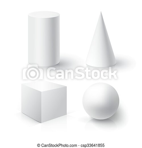 realistic 3d white ball cube cylinder and cone ball cube
