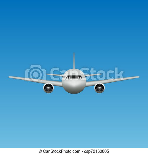 Realistic Airplane Isolated Front View Template For Flight Trip