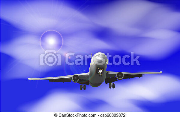 Realistic airplane on a background of blue sky with clouds Vector - csp60803872