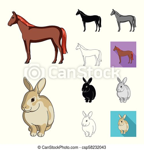 Realistic animals cartoon, black, flat, monochrome, outline icons in set collection for design. Wild and domestic animals vector symbol stock web illustration. - csp58232043