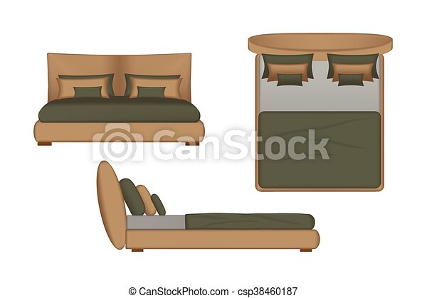 Realistic Bed Illustration Top Front Side View For Your Interior Design Scene Creator