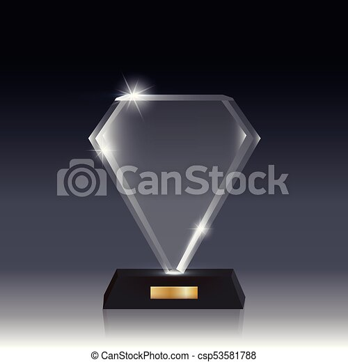 Realistic Blank Vector Acrylic Glass Trophy Award dark gray bg_12