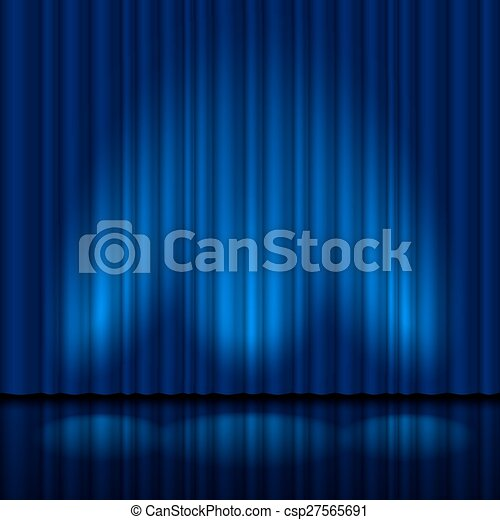 Realistic blue curtain - csp27565691