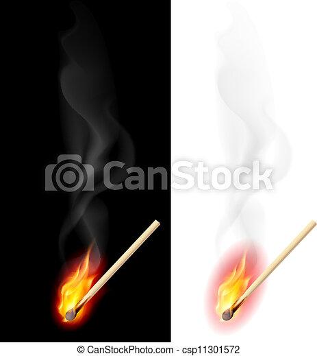 Realistic burning match - csp11301572