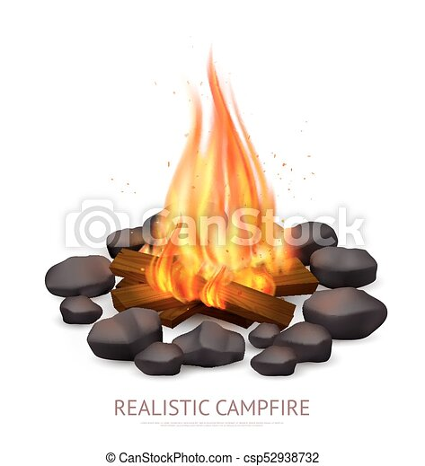 Realistic Campfire Background Composition - csp52938732