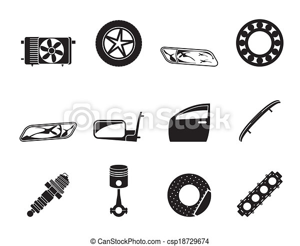 Silhouette Realistic Car Parts And Services Icons Vector Icon Set 1