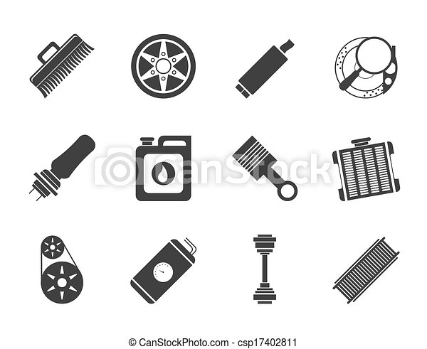Realistic car parts icons. Silhouette realistic car parts and ...