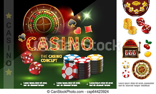 Realistic Casino Concept Realistic Casino Concept With Poker Chips Dices Playing Card Suits Roulette Gold Coins Slot Machine Canstock