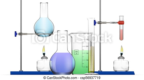 Realistic Chemical Laboratory Equipment Set Glass Flasks Beakers Spirit Lamps