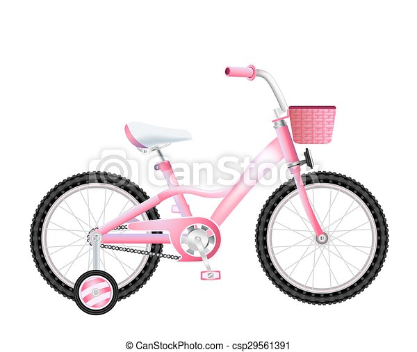 realistic children bicycle with basket on white - csp29561391