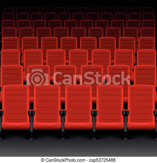 Realistic Cinema Hall Red Seats Movie Theater With Rows Of Empty Seats Or Chairs Vector Illustration Eps 10