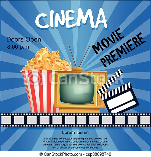Realistic Cinema Poster Movie Premiere Template Banner With Tv Popcorn Clapper And Film Vector Detailed Illustration On Blue Background
