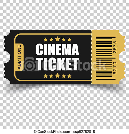 Realistic cinema ticket icon in flat style. Admit one coupon entrance vector illustration on isolated background. 3d ticket business concept. - csp62782018