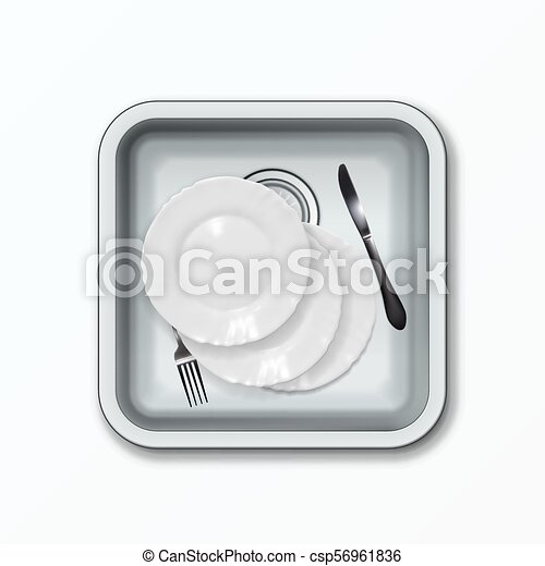 kitchen sink top view. Realistic Full Metallic Kitchen Sink. Top View. EPS10 Vector Sink View S