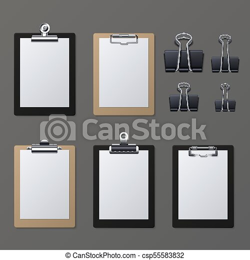 Realistic clipboards with blank white paper sheet. Notepad information board vector illustration - csp55583832