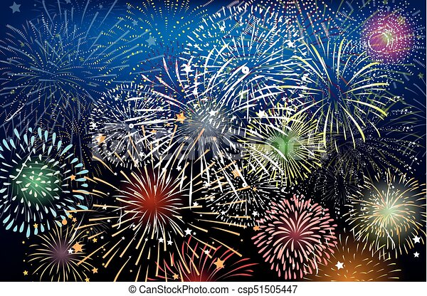 realistic colorful fireworks background