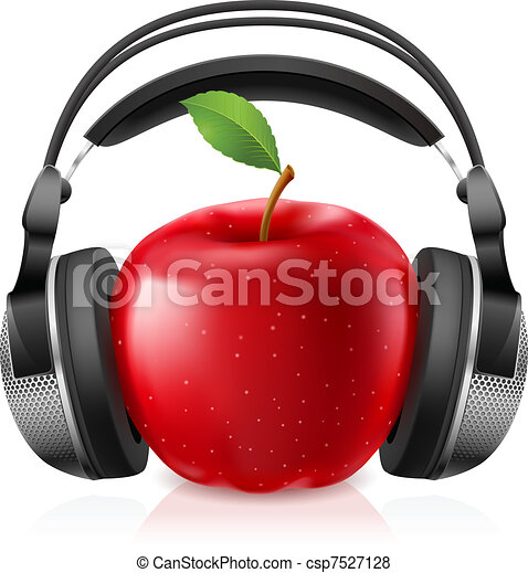 Realistic computer headset with red apple - csp7527128