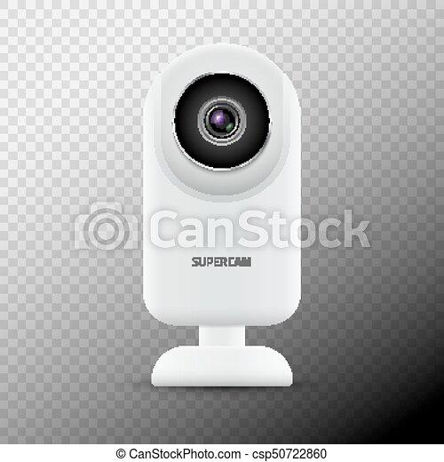 Realistic computer web camera isolated. Video camera technology digital illustration. Webcam device - csp50722860