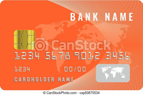 Realistic credit card design template with a chip frontside view mock up. Orange color. - csp50870534
