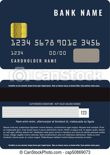 Realistic Credit Card With A Chip Front And Back Side View Mock Up