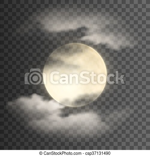 Realistic Deatailed Full Moon With Clouds Isolated On Transparent