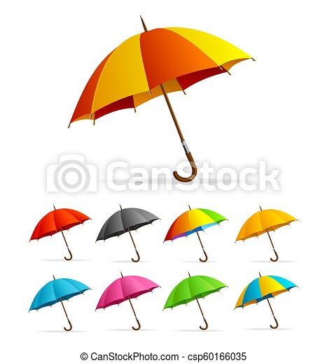 Realistic Detailed 3d Color Umbrella Set Vector Realistic Detailed 3d Color Open Umbrella Set Isolated On White Background