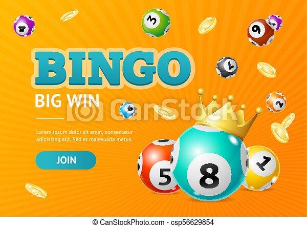 Realistic Detailed 3d Lotto Concept Bingo Big Win Card Background  Vector