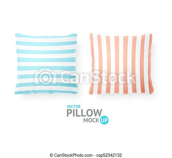 Realistic Detailed 3d Striped Pillows. Vector - csp52342132