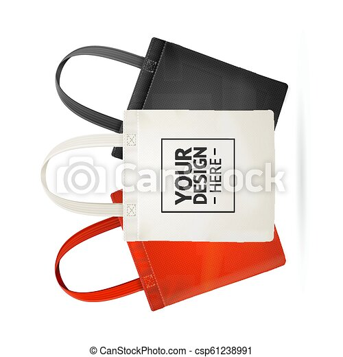 Realistic Detailed 3d Tote Bag Color Set  Vector