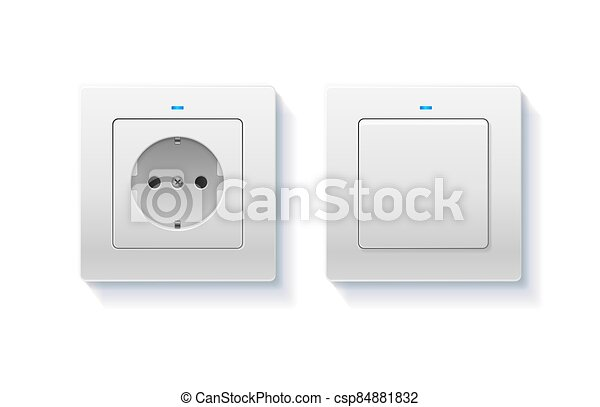 Realistic Detailed 3d Wall Switch and Power Electrical Socket. Vector - csp84881832