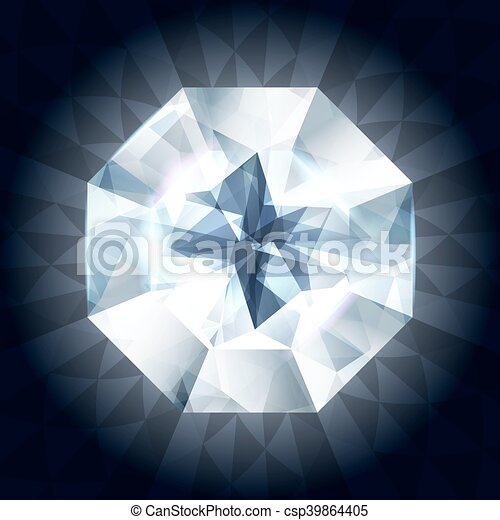 Realistic diamond in top view on shiny background. - csp39864405