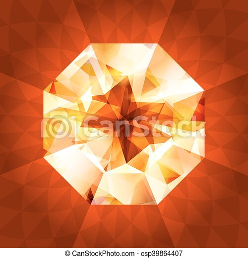 Realistic diamond in top view on shiny background. - csp39864407