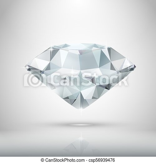 Realistic Diamond Isolated On White - csp56939476