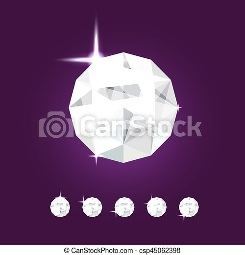 Realistic diamond jewel. Vector Gem illustration. - csp45062398