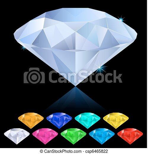 Realistic diamonds in different colors - csp6465822