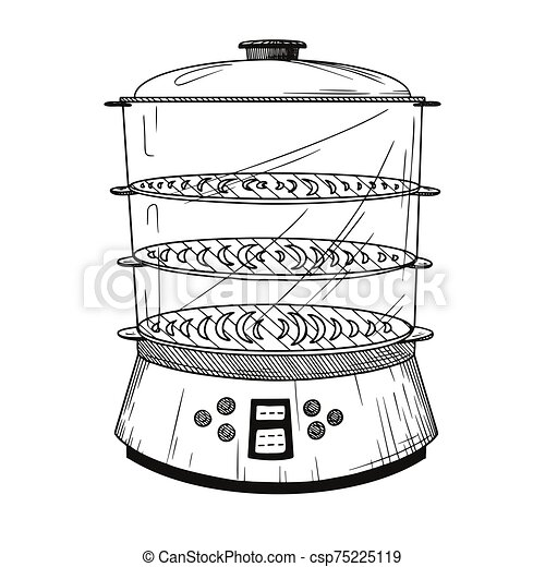 Realistic double boiler isolated on white background. Vector - csp75225119