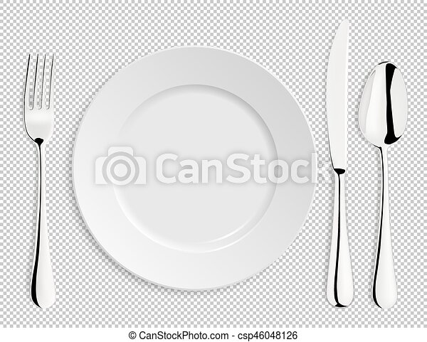Realistic empty vector plate with spoon, knife and fork isolated. Design template in EPS10. - csp46048126