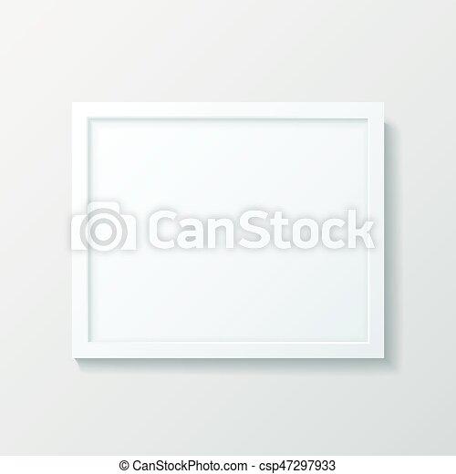 Realistic empty white picture frame mockup. Realistic empty white ...