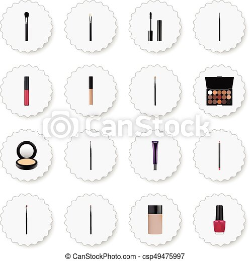 Realistic Eye Paintbrush, Multicolored Palette, Liquid Lipstick And Other Vector Elements. Set Of Cosmetics Realistic Symbols Also Includes Palette, Blusher, Ink Objects. - csp49475997