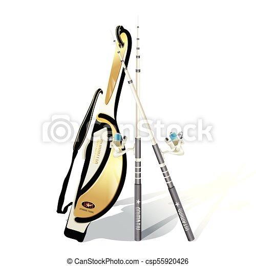 realistic Fishing rod isolated on white background. - csp55920426