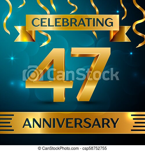 Realistic forty seven years anniversary celebration design. golden ...