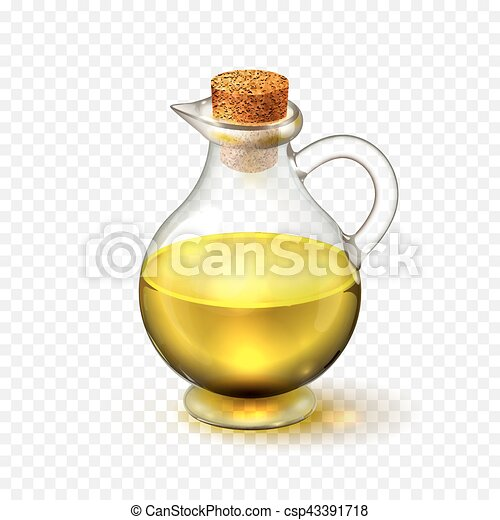 Realistic glass bottle of of olive or sunflower seed oil with a corck isolated on a transparent background. Vector illustration - csp43391718