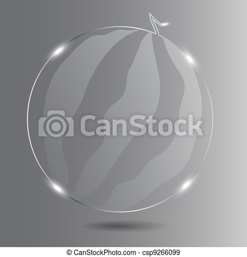 Realistic glass watermelon. Vector illustration. - csp9266099