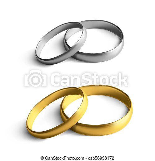 Realistic Gold And Silver Wedding Rings Isolated On Background