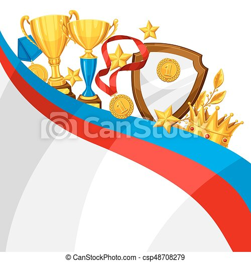 Realistic gold cup and other awards. Background with place for text for sports or corporate competitions - csp48708279