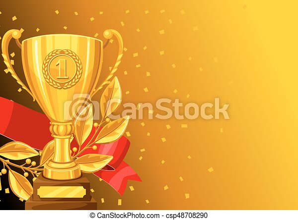 Realistic gold cup, laurel branch and ribbon. Background with place for text award for sports or corporate competitions - csp48708290