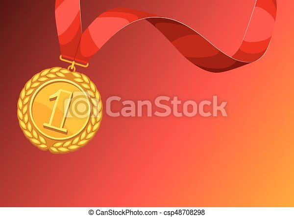 Realistic gold medal for first place  Background with place for text award  for sports or corporate competitions