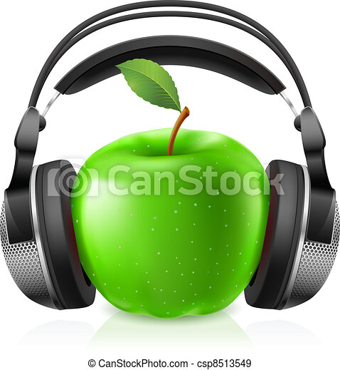 Realistic headphones and green apple - csp8513549