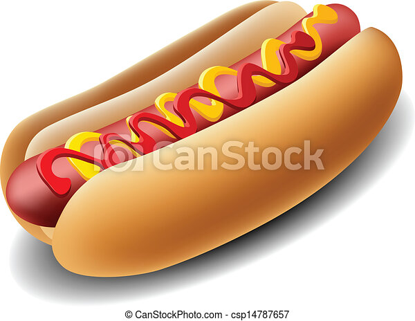 realistic hot dog with ketchup and mustard rh canstockphoto com clip art hot dogs and hamburgers clip art cartoon hot dogs
